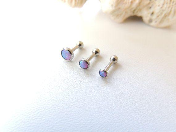 Purple Fire Opal Cartilage Earring You Choose Size, Triple Helix Conch Piercing, 16g Opal Barbell, Cartilage Piercing. 1011