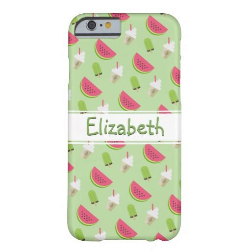 Watermelon and Ice Cream Fun Pattern with Name Barely There iPhone 6 Case A cute Summer pattern available for most popular phones.
