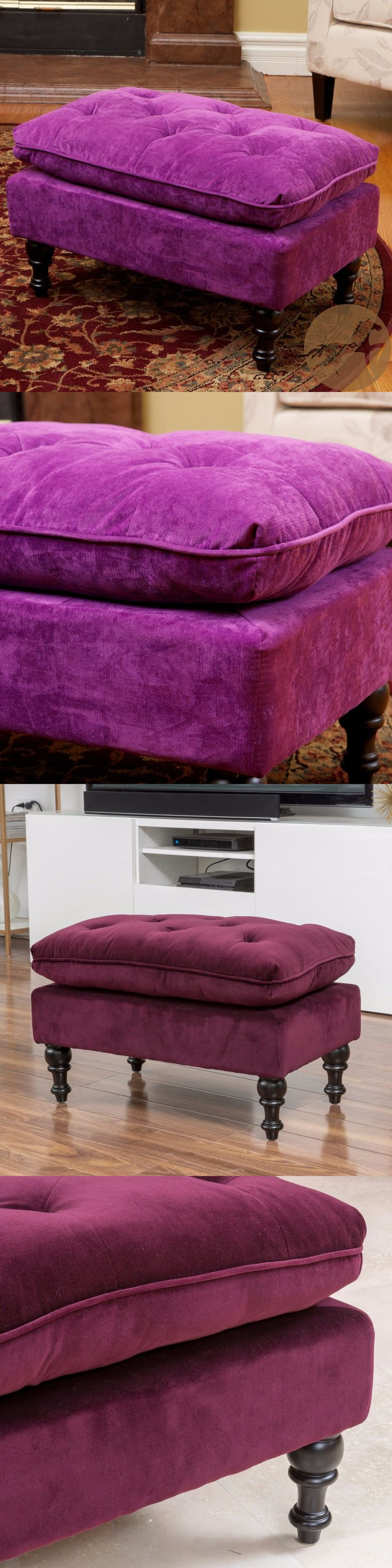 Ottomans Footstools and Poufs 20490: Chloe Diamond Tufted Pillow Top Fabric Ottoman -> BUY IT NOW ONLY: $84.99 on eBay!