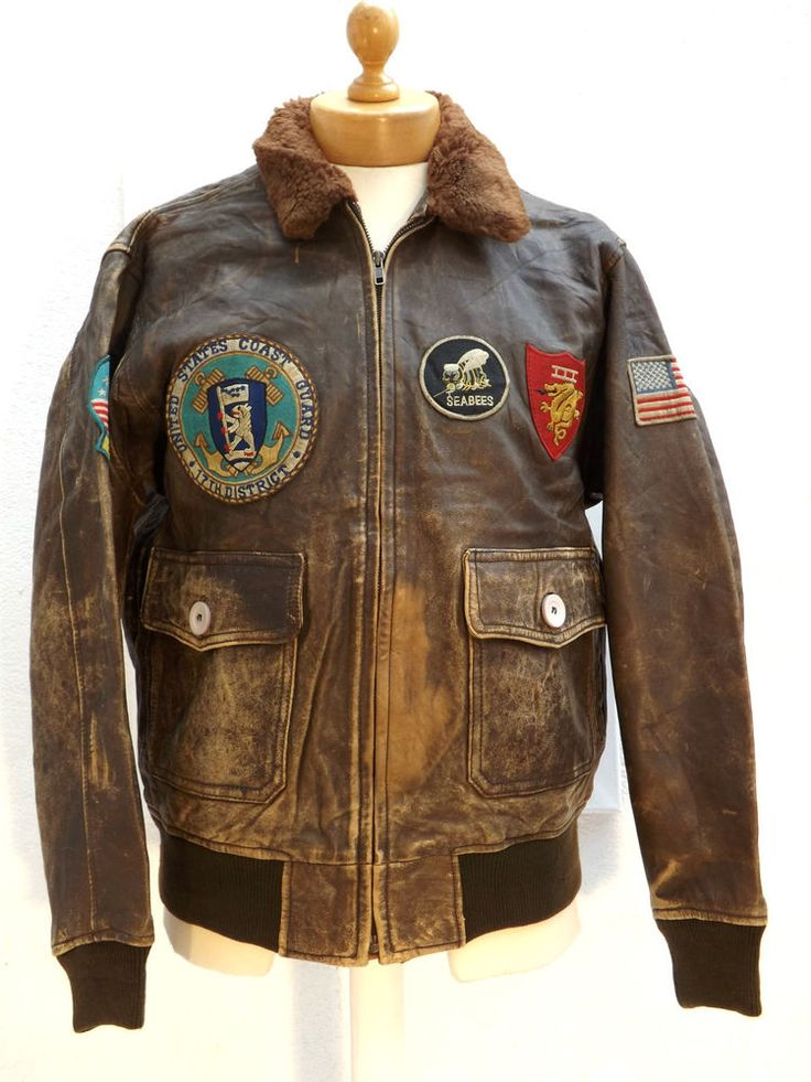 Vintage U.S.Army Airforce Type A2 Leather Flight Jacket With Patches-40-101 cm