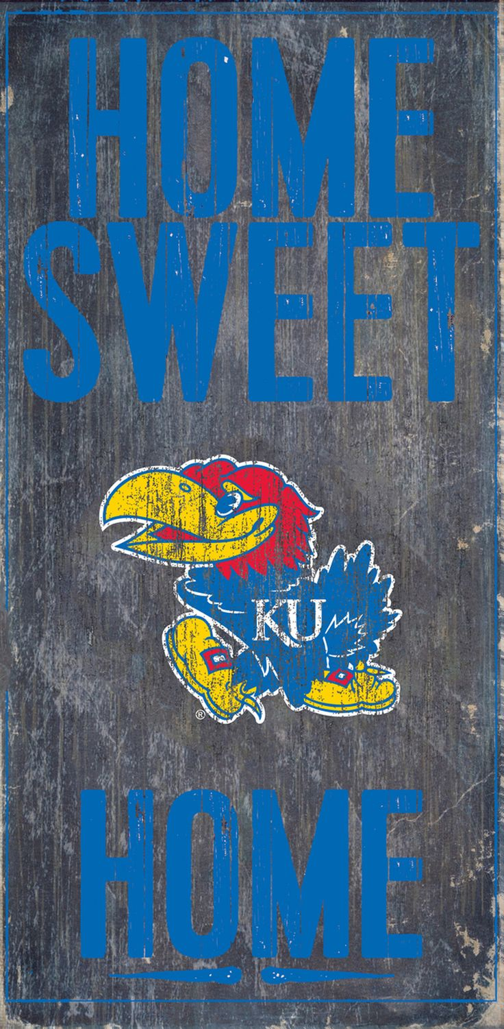 Is your home a Kansas Jayhawks Home? Then you need this sign. This Kansas Jayhawks sign is perfect for displaying around the home. It includes a piece of rope attached to the back for hanging. The sig