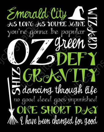 Printable Wicked Musical Digital Subway Art Typography Poster Decoration 11x14 and 8x10. $4.00, via Etsy.