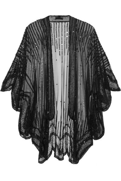 ANNA SUI Sequin-embellished tulle kimono-style jacket