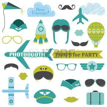 photo anniversaire Set Party Avion , accessoires de photobooth , lunettes,  des chapeaux,