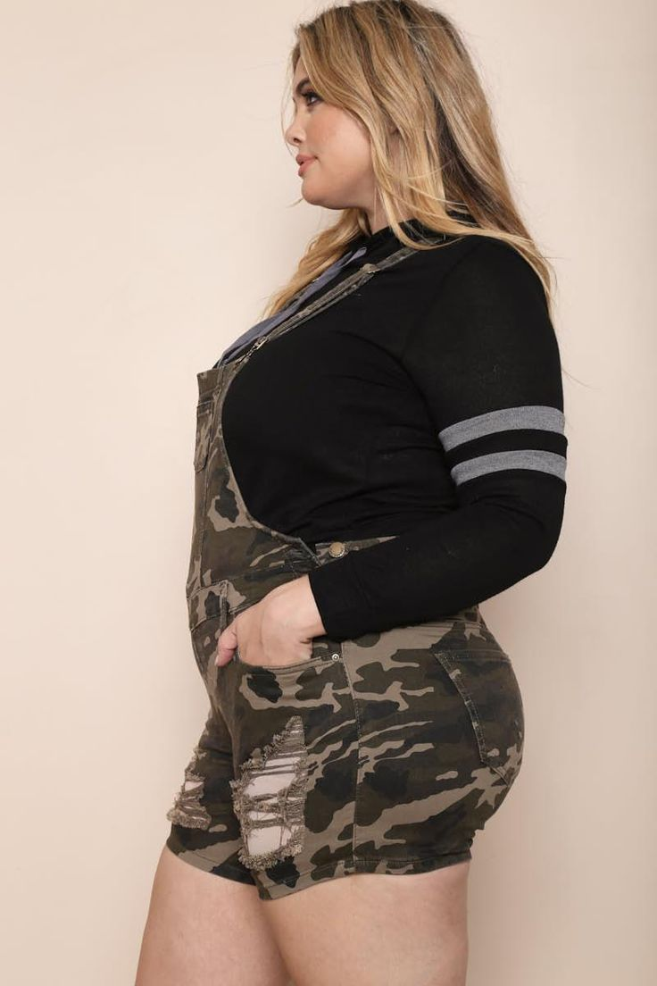 Camouflage My Heart Plus Size Overall Shorts