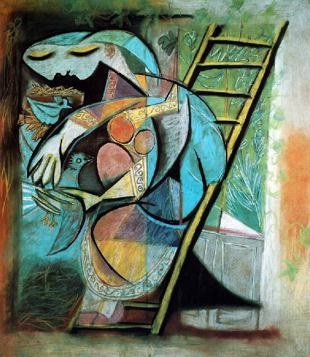 1930 WOMAN WITH PIGEONS, Pablo Picasso (Spain 1881~1973 France)