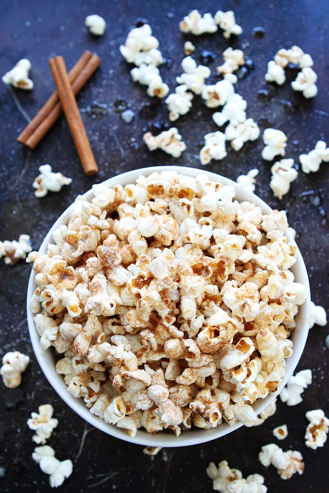 Brown Butter Cinnamon Sugar Popcorn Recipe on twopeasandtheirpod.com This simple and sweet popcorn is a real treat! It is perfect for movie night, game day, or any day!