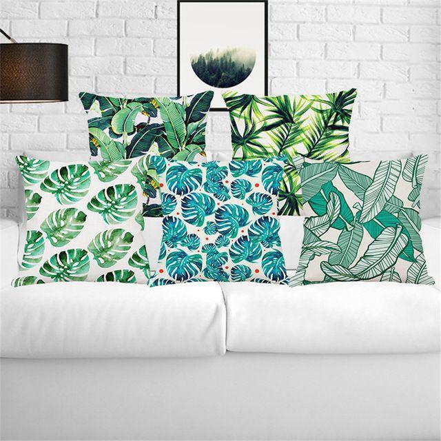 Groene Bladeren Tropische Planten Banana Bladeren Canna Monstera huwelijkscadeau kussenhoes groothandel thuis sofa decoratieve kussensloop