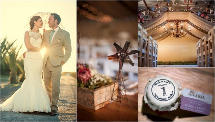 """Farm Wedding Olive Grove, Beaufort West ♥ ♥ ♥ Andréand Nicole's vintage South African farm wedding set at the rusticOlive Grovevenue was inspired by their youth spent growing up amongst wide open spaces. Lovers of the great outdoors, the couple<a class=""""more-link"""" href=""""http://www.confettidaydreams.com/windmills-bunting-farm-wedding-at-olive-grove/""""> Read More...</a>"""