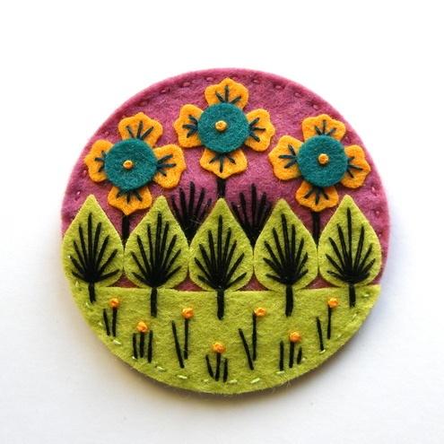 Wonderland Felt Brooch Freeform Embroidery