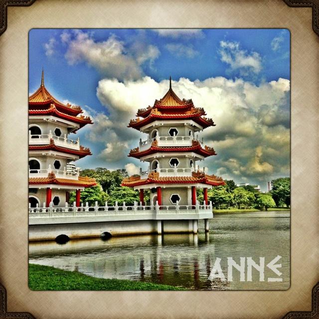 Twin Pagoda at Chinese Garden, Singapore..