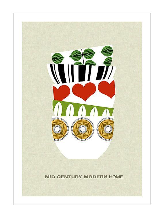 Mid Century Modern poster print retro Stig Lindberg Cathrineholm Kaj Franck tea coffee kitchen art - Mid Century Modern Home 2 - A3. $29.00, via Etsy.