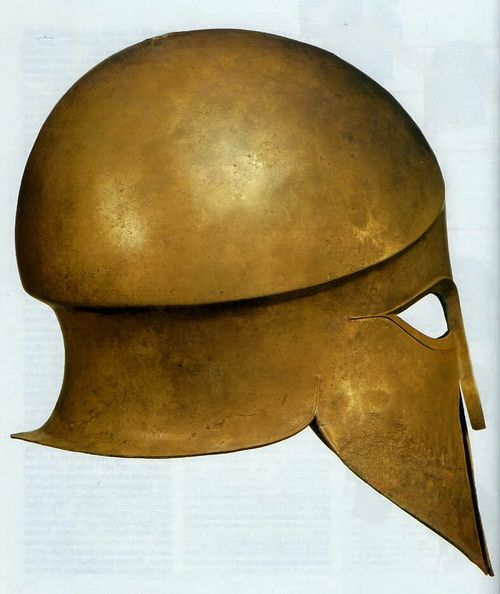 Ancient Greece. Bronze Corinthian helmet,ca. 500 BC.