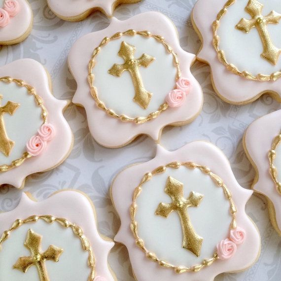 Elegant pastel Pink And Gold Cross Baptismal by thesweetesttiers