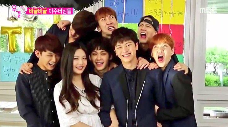 """Joy and Sungjae with the other members of BTOB taking a silly """"wedding photo"""" ^-^"""