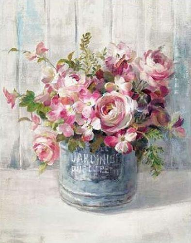 Danhui-Nai-Garden-Blooms-I-Keilrahmen-Bild-Leinwand-Blumen-Landhaus-Shabby