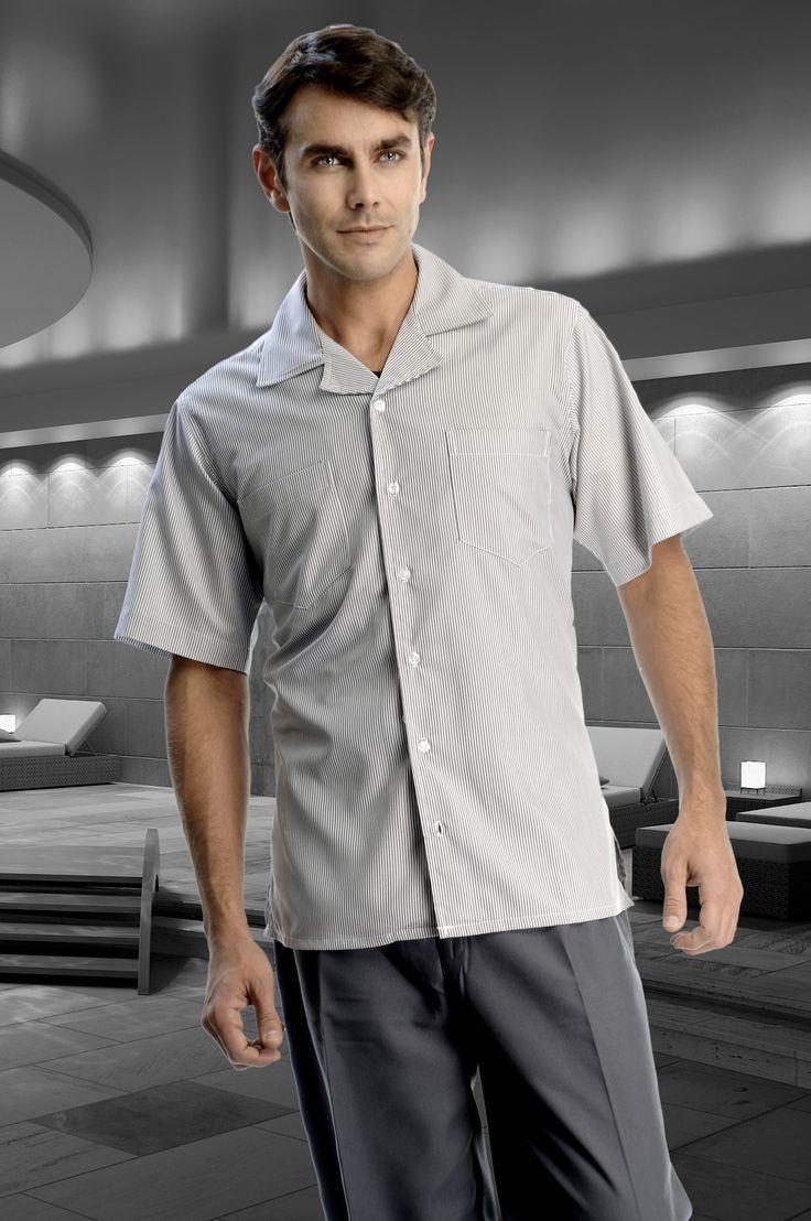 Uniforme de dos piezas con camisa de manga corta Gris y pantalón gris Oxford http://www.creacionesred.com.mx/