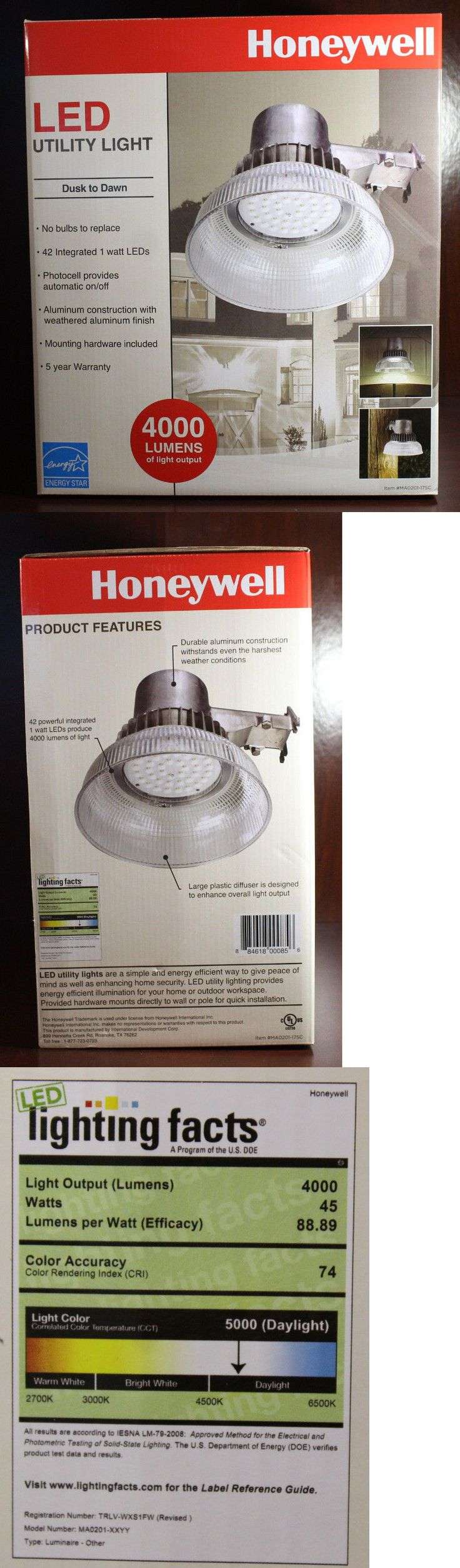 Outdoor Security and Floodlights 183393: New Honeywell Outdoor Led Security Light 4000 Lumen Dusk To Dawn Utility Light -> BUY IT NOW ONLY: $51.45 on eBay!