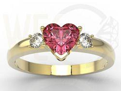 Pierścionek z żółtego złota z czerwonym topazem w kształcie serca i cyrkoniami / Ring made from yellow gold and red topaz and zircons / #jewellery #ring #heart #topaz #zircons