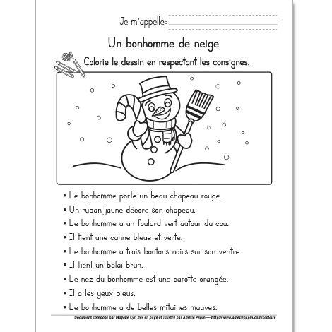 Fichier PDF téléchargeable En noir et blanc 1 page Les élèves colorient le bonhomme de neige en respectant les consignes données. Vous pouvez vous servir de ce document comme évaluation en lecture.