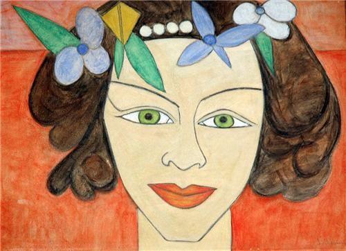 sukriye_dikmen_Tek figürlü kadın ve genç kız portrecisidir. Genellikle kontrplak üzerine çizdiği, sınırları belli, iri gözlü, minyatürleri, Japon estamplarını hatırlatan kadın başları, kalın dudak çizimleri, ince boyun çizimleri ile Şükriye Dikmen'in kadın figürleri,oldukça iddialı çalışmalardır (Resim; Portre. 54x114cm. Kontrplak üstü yağlıboya)