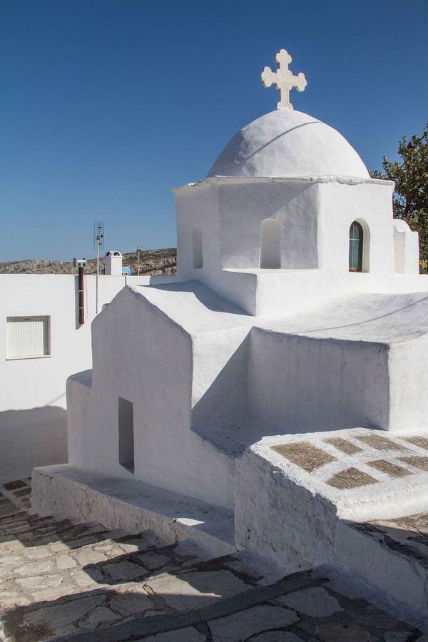 White church in Naxos, Greece