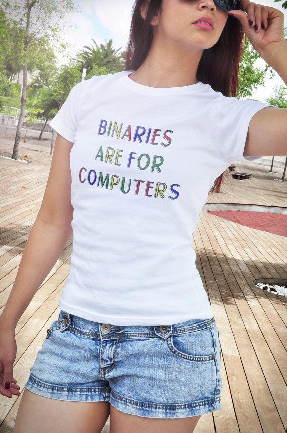 binaries are for computers shirt Tumblr shirt gender by oTZIshirts #nonbinary #lgbt #pride