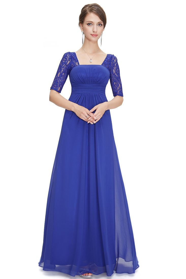 Royal Blue Lace and Chiffon 3/4 Sleeve Ruched Maxi Dress | Maxis ...
