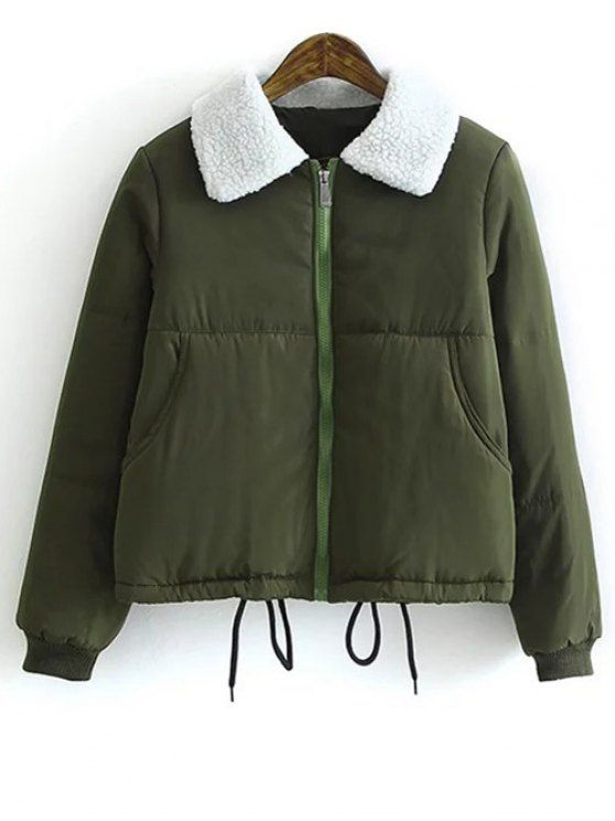 Borg Collar Quilted Puffer Jacket - ARMY GREEN L