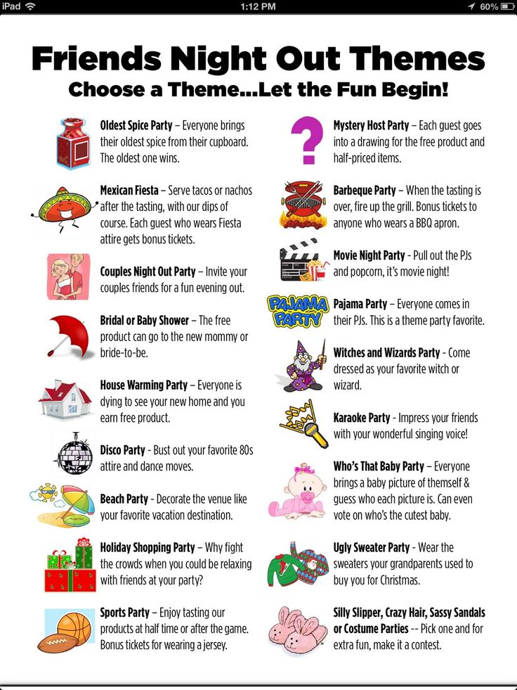 Here's list one of great party Themes to try! www.simplygdemp.com for more info on all the great reasons to host!