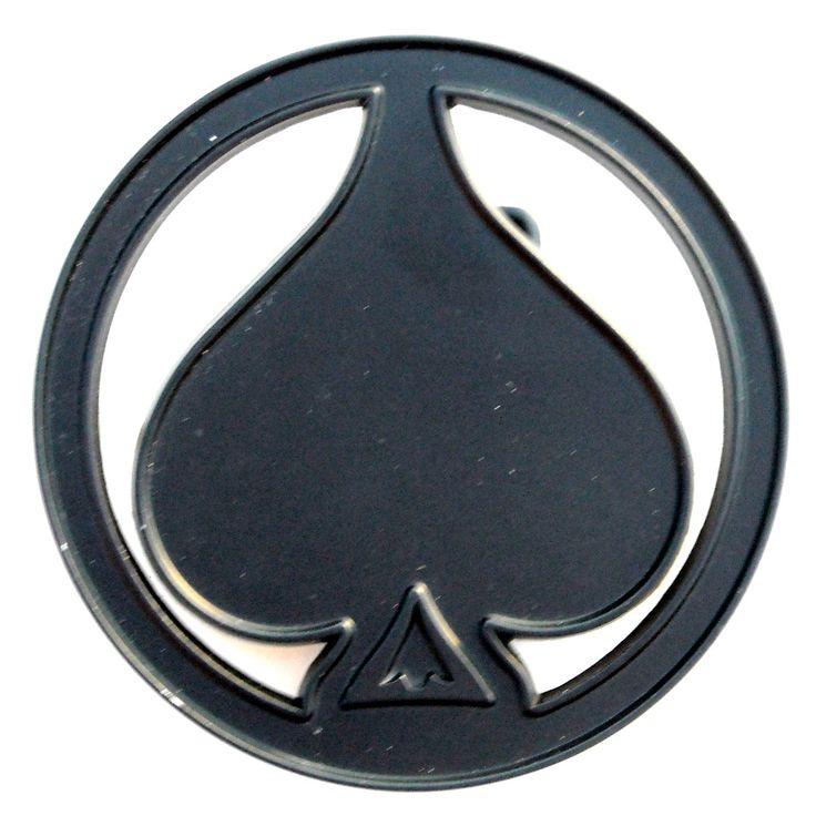Black Ace Of Spades Symbol Round Metal NOS Belt Buckle