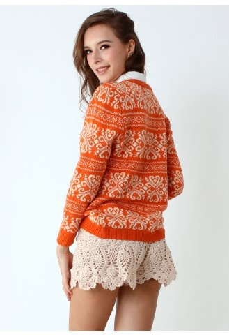Vintage Pattern Orange Knit Sweater
