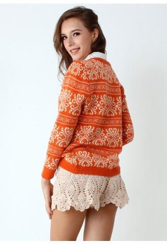 Vintage Pattern Orange Knit Sweater