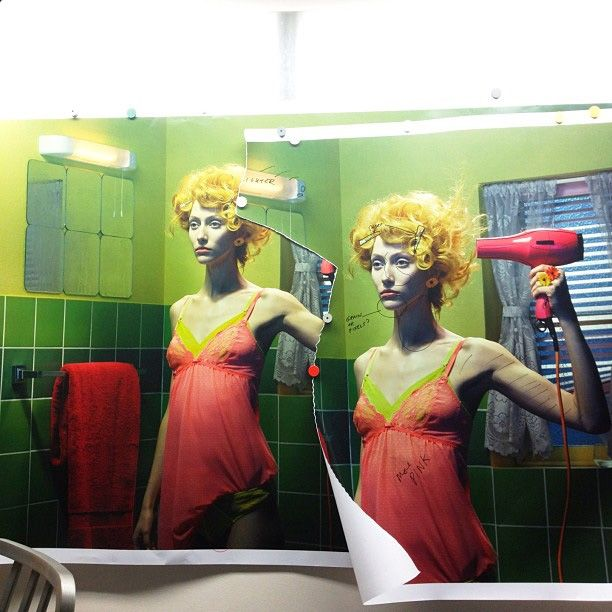 Made by: Miles Aldridge (As if she wants to kill herself with the hair blower)
