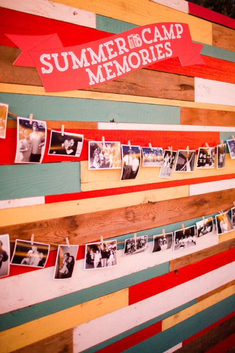 A fun photowall of summer camp memories to set the theme as your guests enter your venue. Source: Acqua Photo #photowall #summerwedding