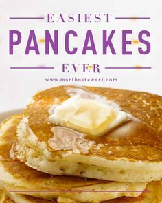"Easiest Pancakes Ever | Martha Stewart Living - Nothing says ""weekend"" like easy homemade pancakes for breakfast. Our easy pancake recipe will help you easily whip up this weekend favorite in less than 30 minutes! When you see how easy it is to make delicious, light, and fluffy homemade pancakes from scratch,"