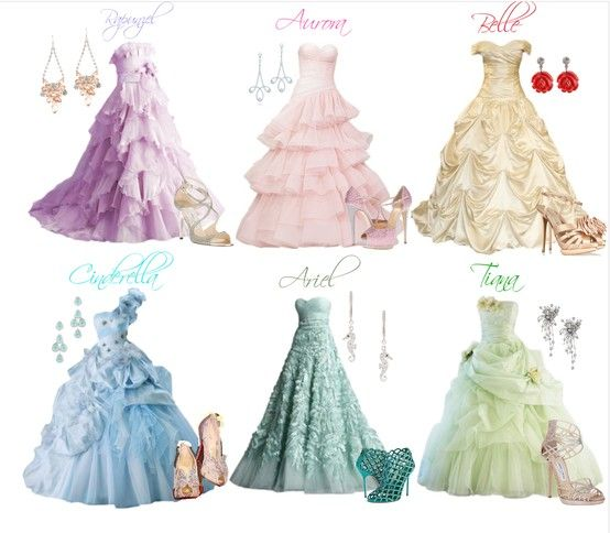 "Disney Princess Dresses- ""Oh I want Aurora's dress!!!!"" <---Nope, it's pink. Ariel's or Tiana's would be nice."