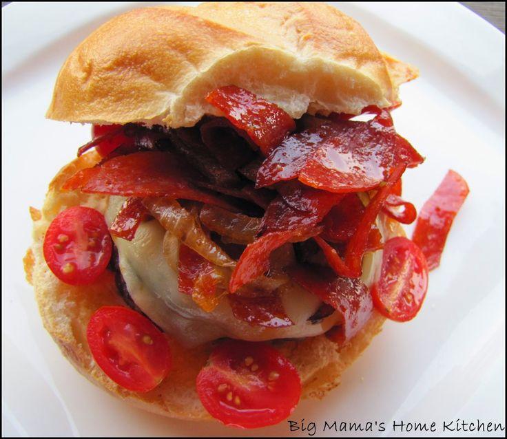 Big Mama's Home Kitchen: Pepperoni Sausage Burgers ~ Guy Fieri