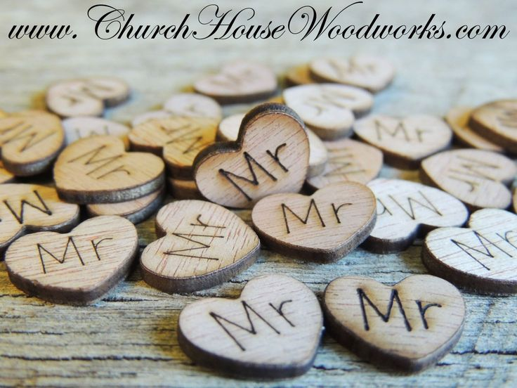 500 wood burned heart confetti mr mrs bride groom love