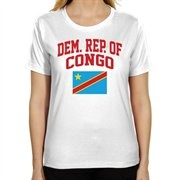 Democratic Republic of the Congo Ladies Flag Classic Fit T-Shirt - White