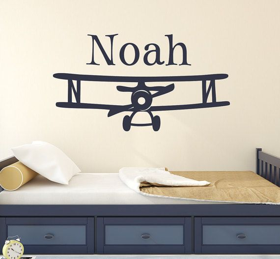 Kids Room Wall Decal, Personalized Airplane Wall Decal, Airplane Nursery  Wall Sticker, Explorer
