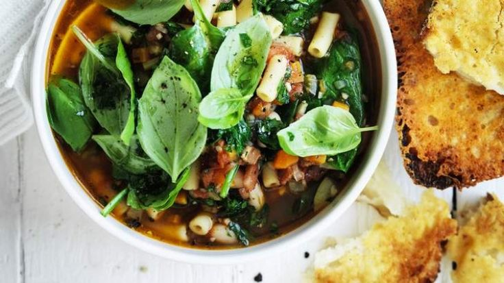 Thick minestrone with parmesan croutons