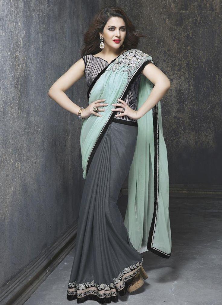 Vivacious Embroidered Work Grey Art Silk Designer Saree