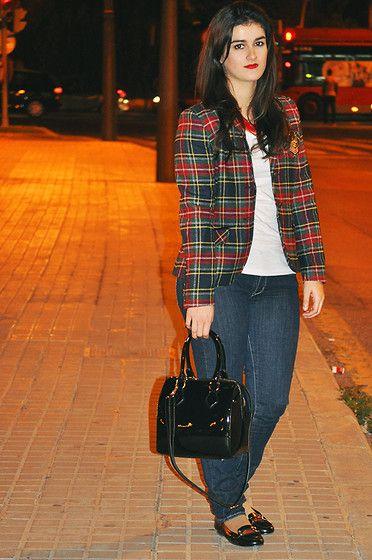 Easy Wear Tartan Blazer, Local Store Bag, H&M T Shirt, Levi's® Jeans, El Corte Ingles Loafers