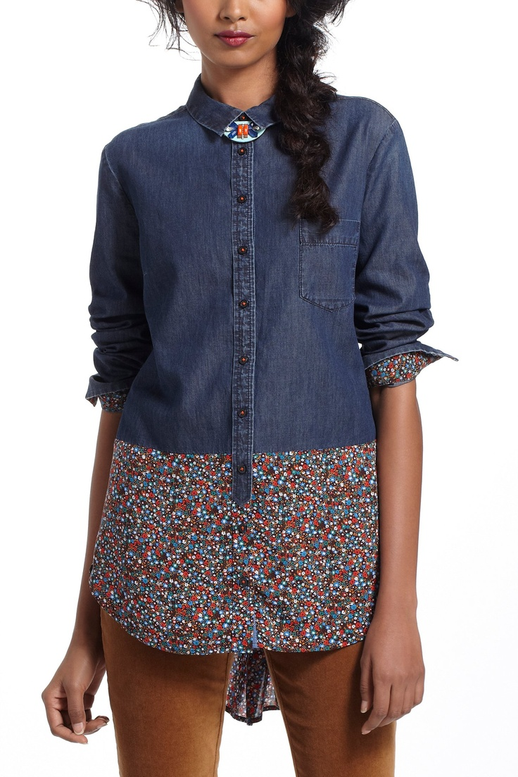 Flora-Spliced Chambray Buttondown - Anthropologie.com