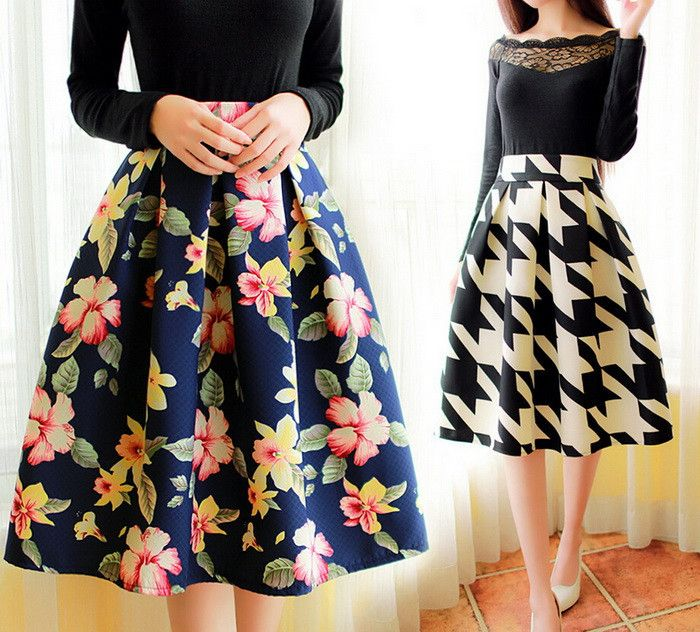 Women Summer Style A-line Dark Floral Prints Pattern Pleated Umbrella Skirts