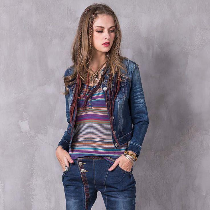 Stand Collar Denim Short Jacket Women Long Sleeve