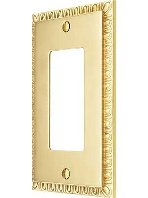 Egg & Dart Design GFI Outlet Cover In Solid Brass | House of Antique Hardware
