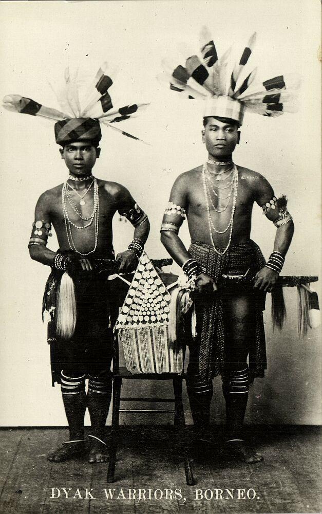 malay malaysia, BORNEO SARAWAK, Armed Young Native DAYAK Warriors (1920s)