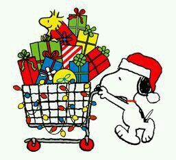 Snoopy Wearing a Santa Hat Pushing a Shopping Cart Full of Christmas Presents With Woodstock Said on Top